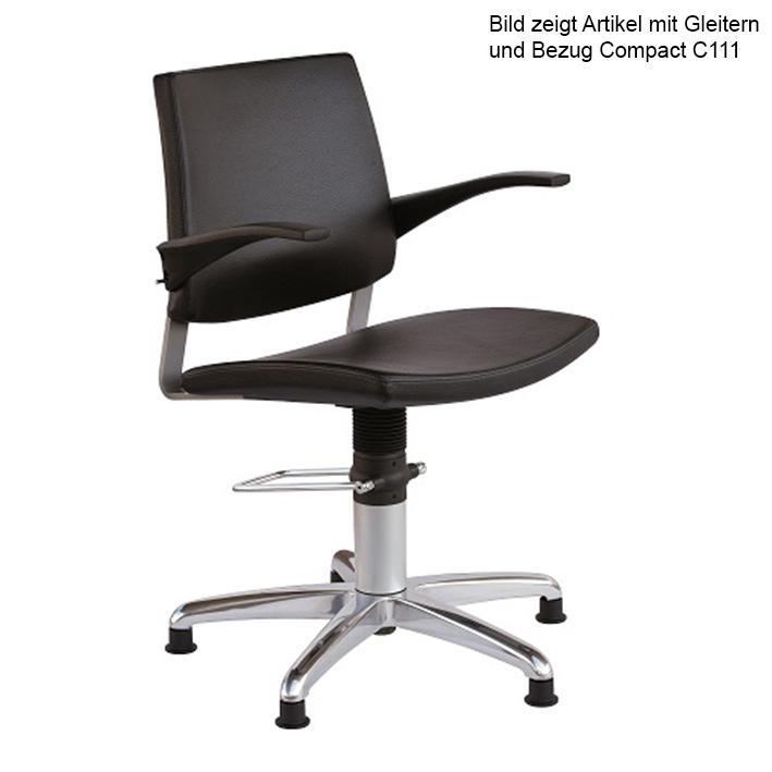 Patientenstuhl Serie 22, Gleitern, und beweglicher Rückenlehne, Bezug compact schwarz