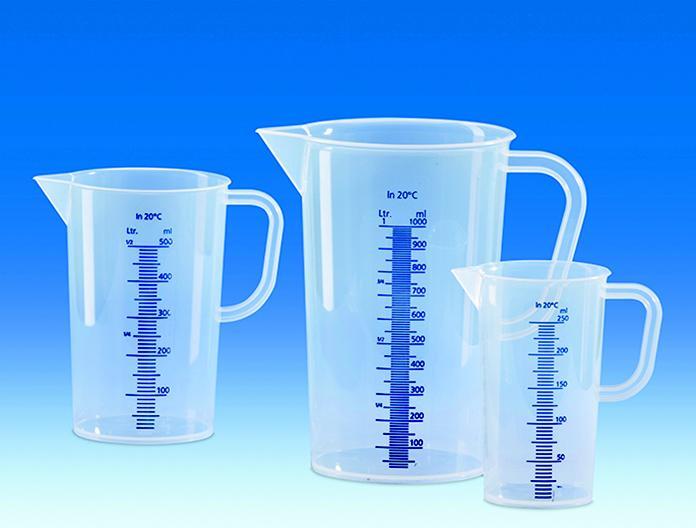 Messbecher, PP, erhabene blaue Skala, 250 ml