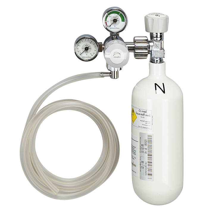 Sauerstoff-Gerät mit Sauerstoff-Flasche, 0,8 Ltr. leer