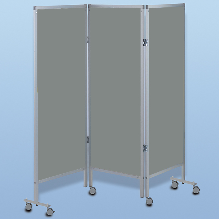 Wandschirm 3-flügelig, fahrbar, Farbe: grau/grau/grau