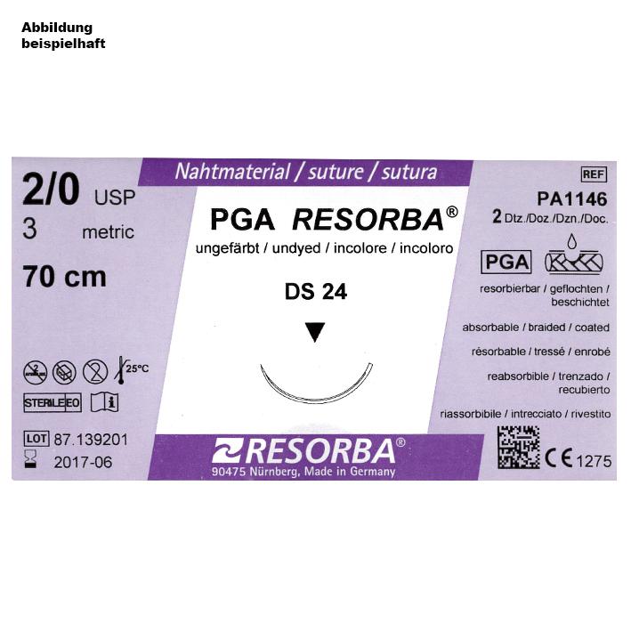PGA-RESORBA DS 24 3/0=2 ungefärbt, Nahtmaterial Fadenlänge 70 cm (24 Stck.)