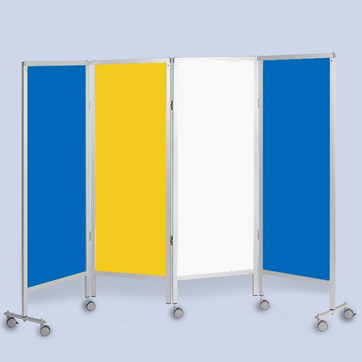 Wandschirm 4-flügelig, fahrbar, Farbe: blau/gelb/weiß/blau