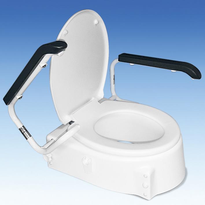 Toilettensitzerhöhung weiß, Armlehnen und Deckel, 3 Höheneinstellungen: 6, 10 und 14 cm
