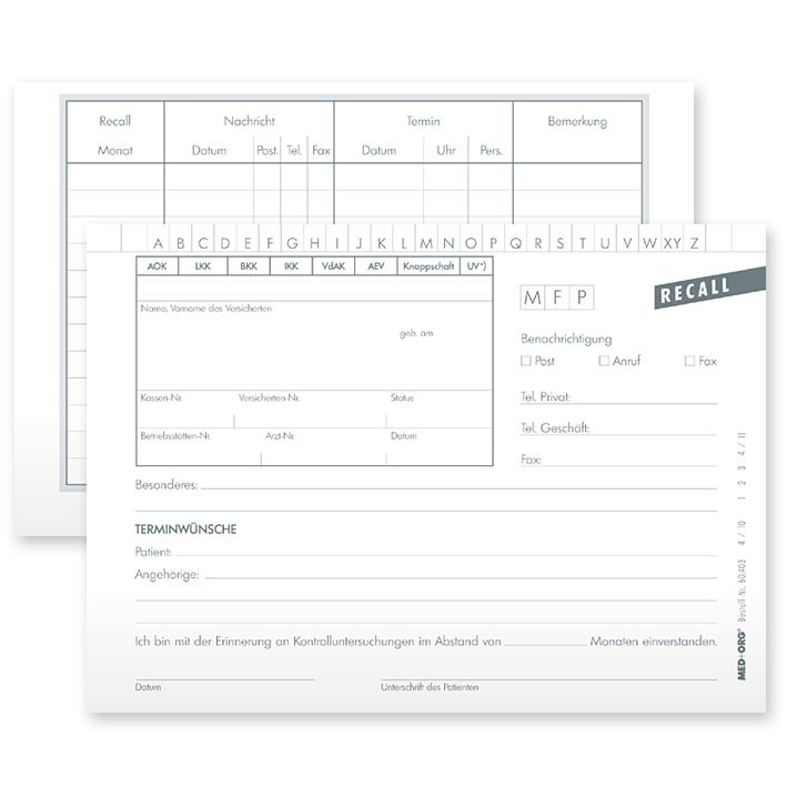 Recall-Patientenkarten DIN A6 quer, (100 Stck.)