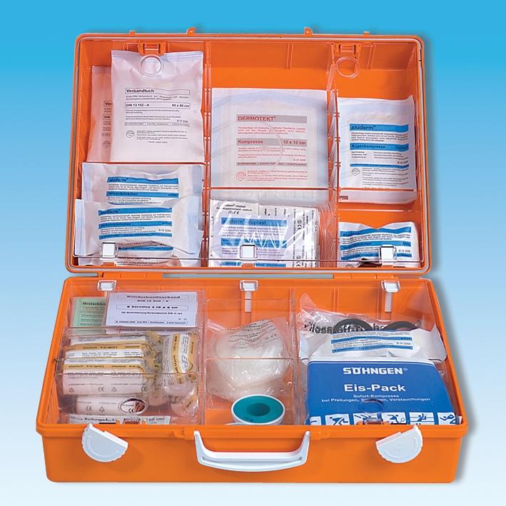 Erste-Hilfe Koffer MT-CD mit Füllung, Standard DIN 13169, orange, mit Wandhalterung