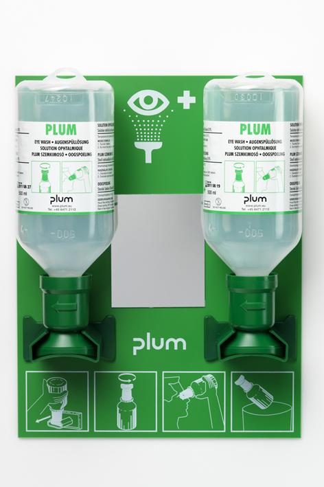 Plum Augenspülstation mit 2 Flaschen, inkl. Wandhalter, Piktogramm und Spiegel