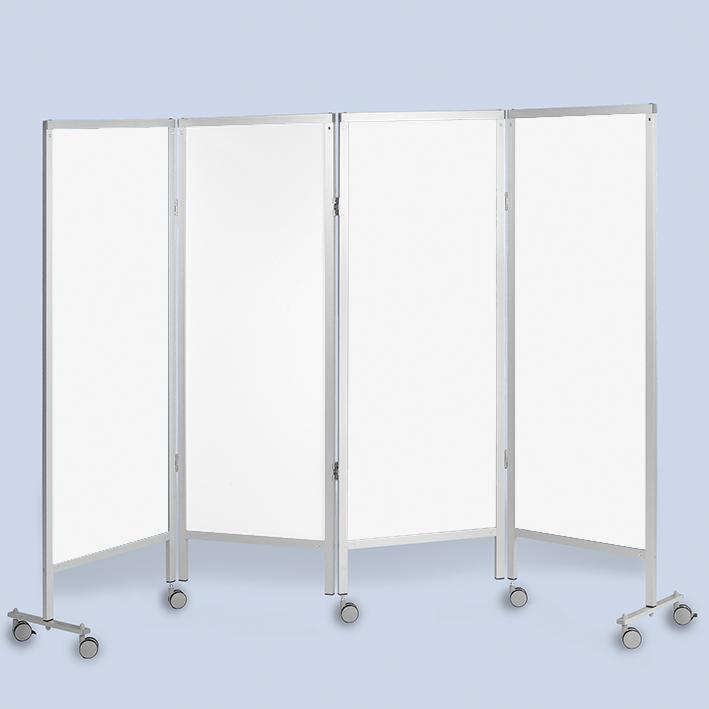 Wandschirm 4-flügelig, fahrbar, Farbe: weiß/weiß/weiß/weiß