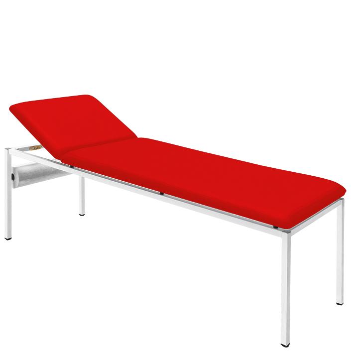 Untersuchungsliege rot, lackiert inkl. Rollenhalter, Polster 65 mm