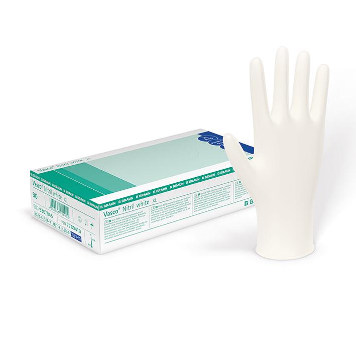 Vasco Nitril white U.-Handschuhe, PF, Gr. 7-8 mittel, unsteril (150 Stck.)