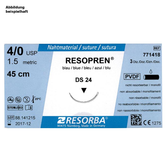 RESOPREN DS 18 4/0=1,5 blau monofil, Nahtmaterial Fadenlänge 75 cm (36 Stck.)