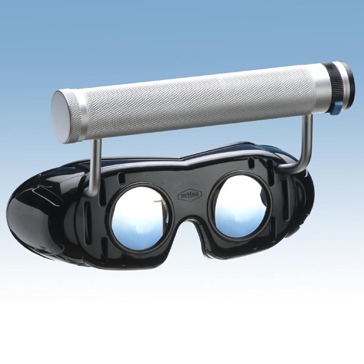 Nystagmusbrille nach Frenzel mit Batteriegriff und festen Gläsern