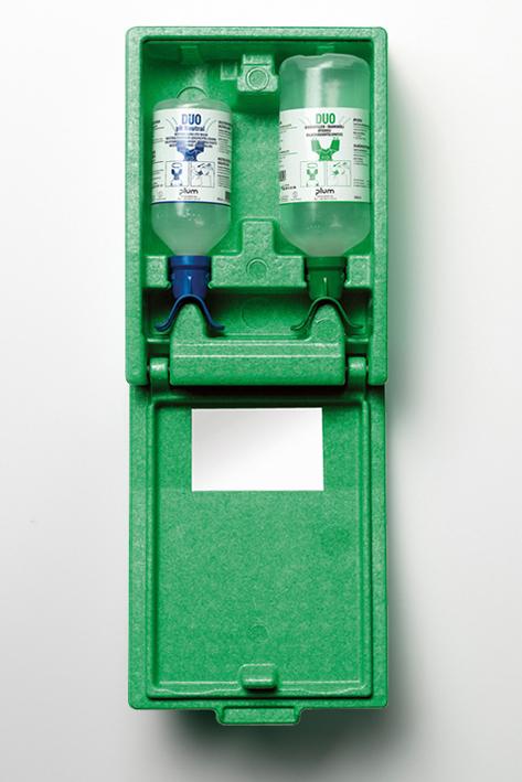 Plum Augen-Notfallstation Duo, 2 Flaschen in Wandbox mit Anleitung, und Spiegel