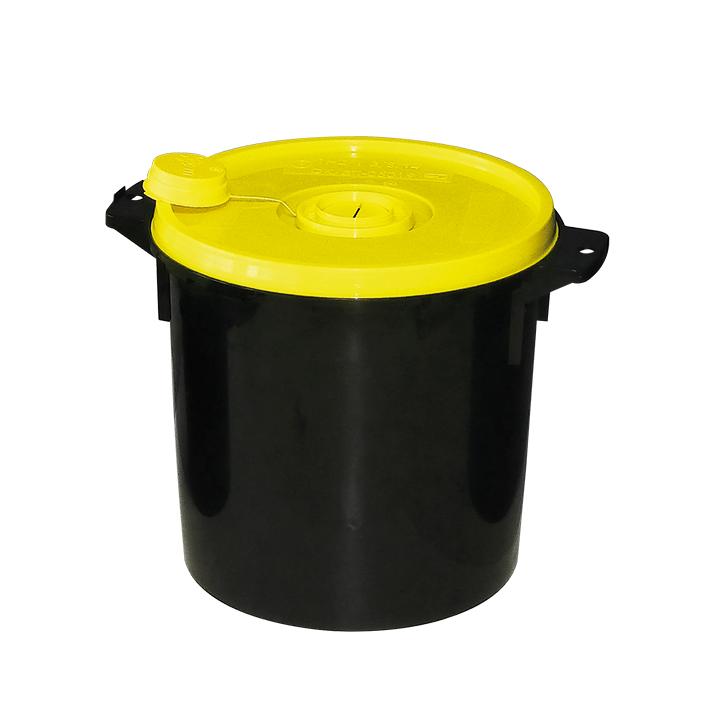 Kanülenabwurfbehälter schwarz 11,3 Ltr., gelber Deckel
