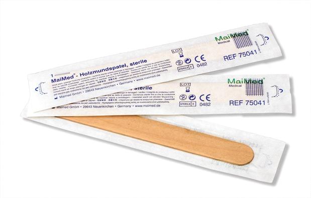Mundspatel aus Holz, 150mm, steril, einzeln verpackt, 50 Stück
