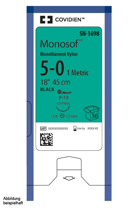 Monosof P-11 4/0=1,5 schwarz, Nahtmaterial Fadenlänge 45 cm (36 Stck.)