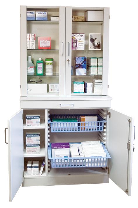 Medikamenten- und Verbandmittelschrank, weiß mit Glastüren