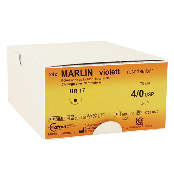 MARLIN HR 17 4/0=1,5, violett, Nahtmaterial Fadenlänge 70 cm (24 Stck.)