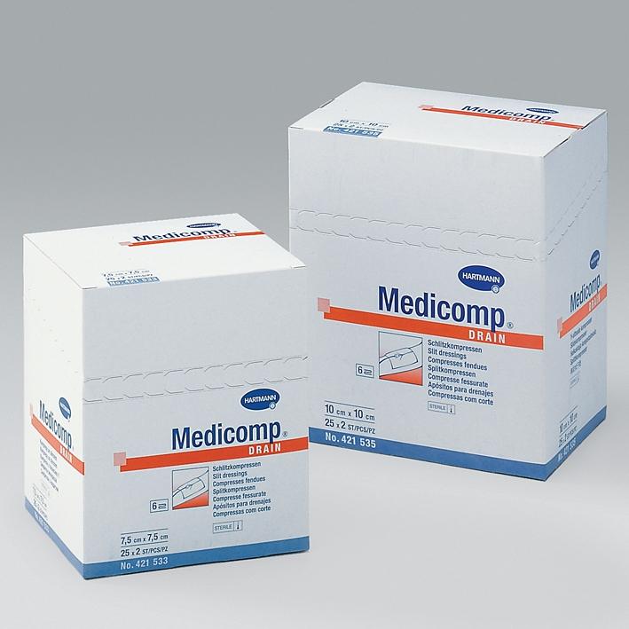 Medicomp Drain Schlitzkompressen, 7,5 x 7,5 cm, steril (25 x 2 Stck.)
