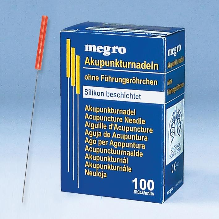 Akupunkturnadeln 0,35 x 50 S3, silikonbeschichtet (100 Stck.), mit Plastikgriff