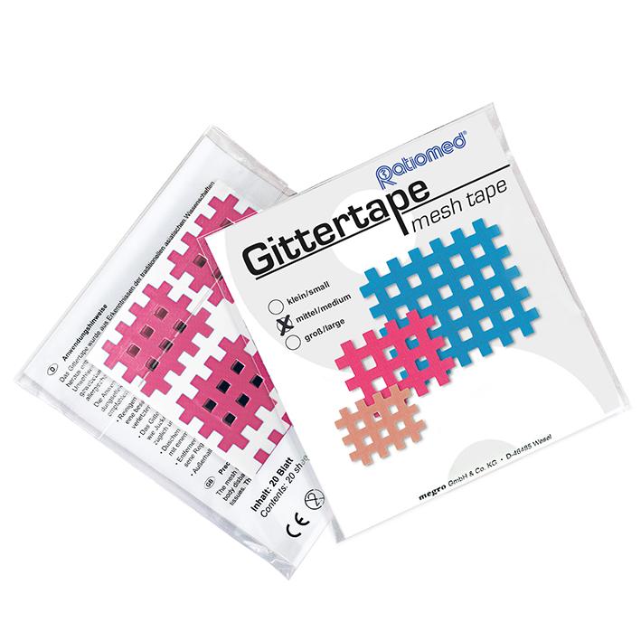 Gittertape ratiomed 36 x 28 mm, pink/mittel (20 Blatt à 6 Pflaster)