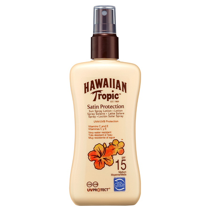 Hawaiian Tropic Satin Protection Sun, Spray Lotion 200 ml mit LSF 15