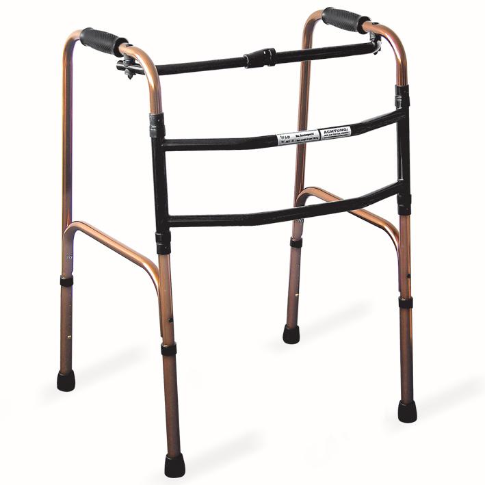 Gehgestell Alu bronze-eloxiert, bewegbar, für Erwachsene, faltbar