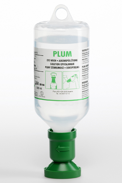 Plum Augenspülflasche 500 ml, (0,9 % Natriumchloridlösung)