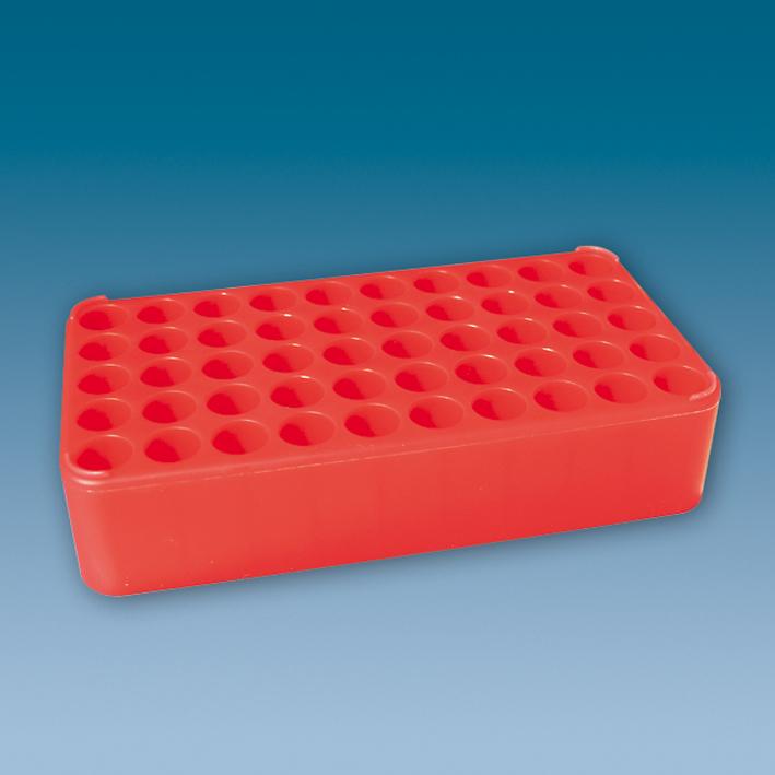 S-Monovette-Rack D 17, rot, 50 Bohrungen Ø 17 mm, ohne Griffe