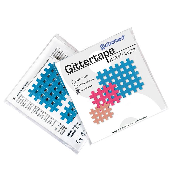 Gittertape ratiomed 52 x 44 mm, blau/groß (20 Blatt à 2 Pflaster)
