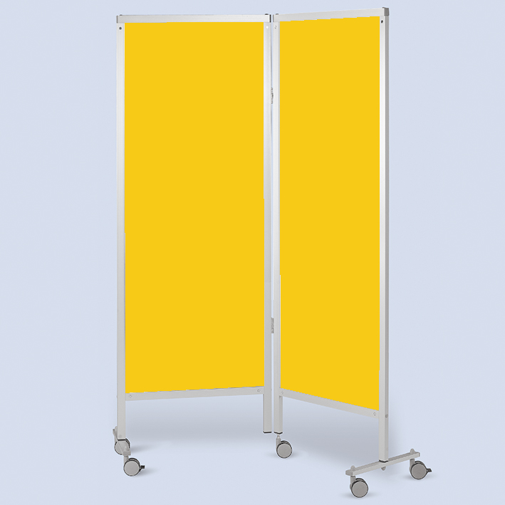 Wandschirm 2-flügelig, fahrbar, Farbe: gelb/gelb