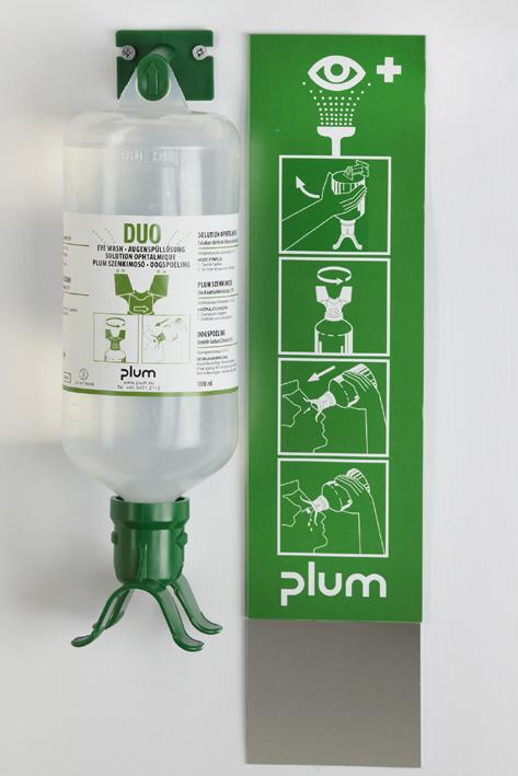 Plum Augenspülstation Duo mit 1 Flasche inkl. Wandhalter, Piktogramm, und Spiegel