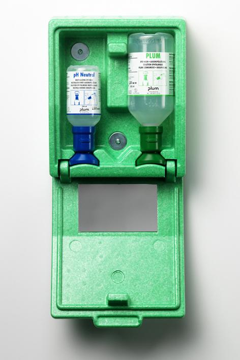 Plum Augen-Notfallstation mit 2 Flaschen, in Wandbox Spiegel und Augen-Notfallplan