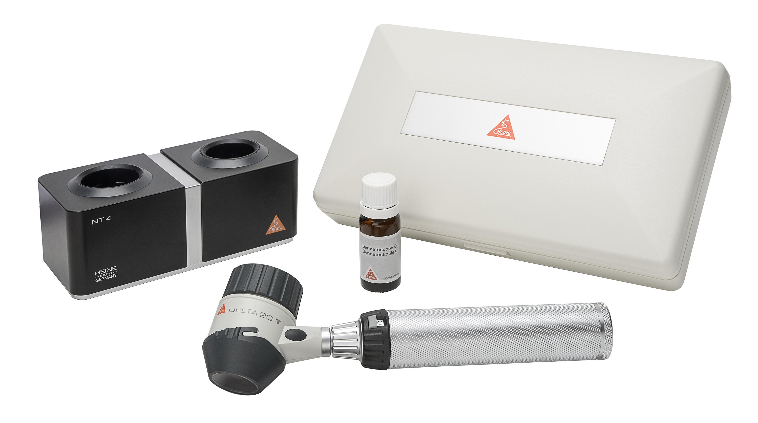 DELTA 20 T Dermatoskop-Set, BETA 4 NT Ladegriff mit NT4, Tisch-Ladegerät
