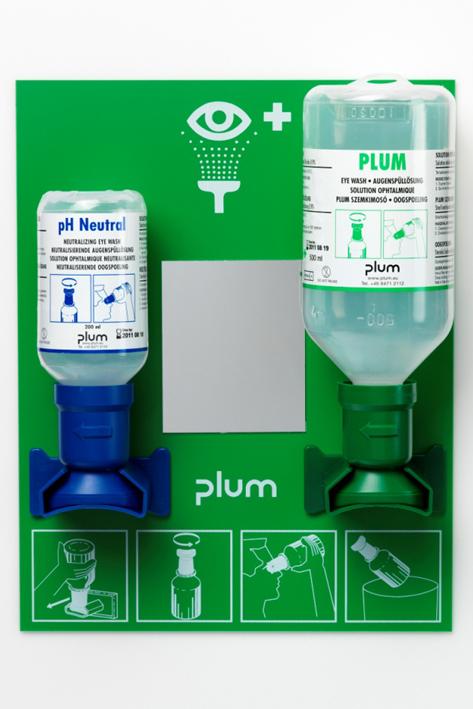 Plum Augen-Notfallstation offen, 2 Flaschen inkl. Wandhalter, Piktogramm