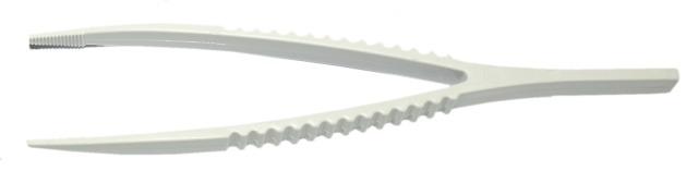 Kunststoff-Pinzette ohne Steg, Weiß, 136mm, (10 Stück)