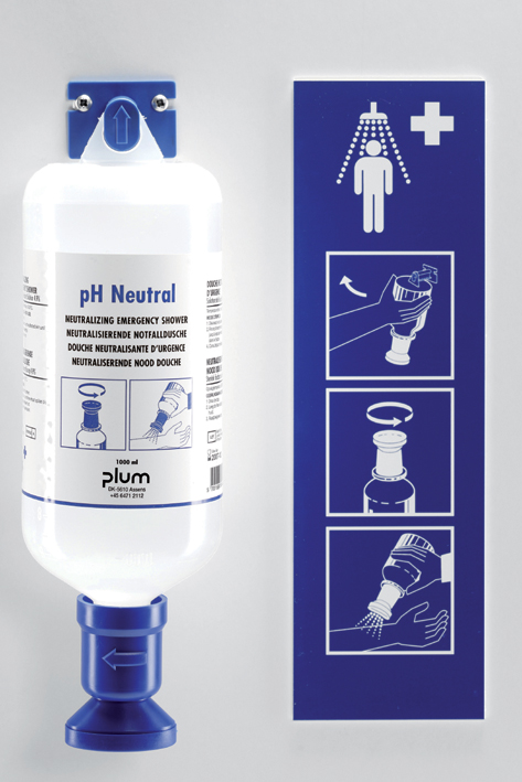 Plum pH Neutral Station mit Wandhalter, und Piktogramm