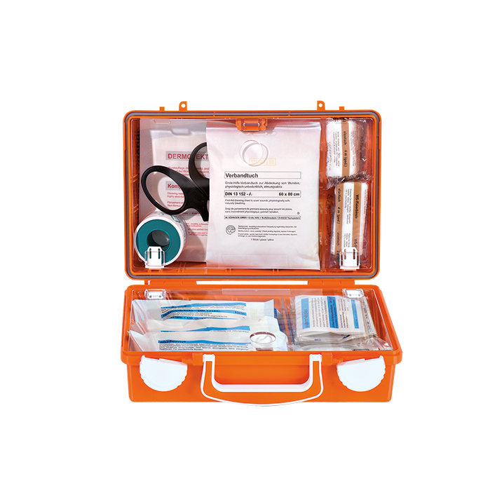 Erste-Hilfe Koffer QUICK-CD mit Füllung, Standard DIN 13157, orange, mit Wandhalterung