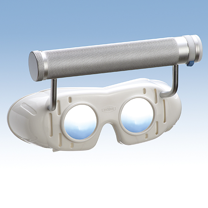Nystagmusbrille nach Blessing mit Batteriegriff und festen Gläsern