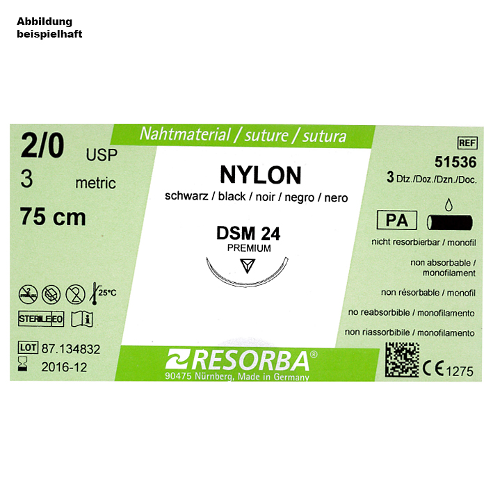 NYLON DSM 18 3/0=2 schwarz monofil, Nahtmaterial Fadenlänge 45 cm (36 Stck.)
