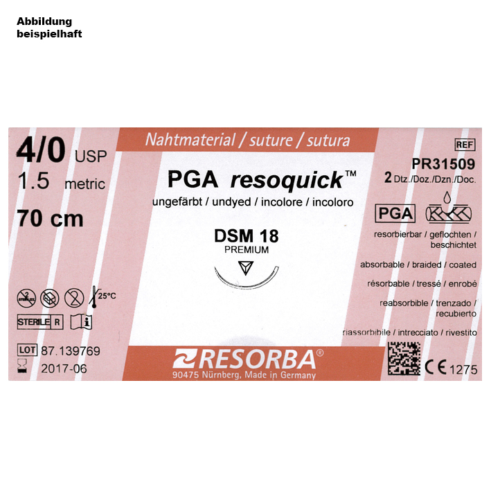 PGA-RESOQUICK DSM 18 4/0=1,5, ungefärbt, Nahtmaterial Fadenlänge 70 cm (24 Stck.)