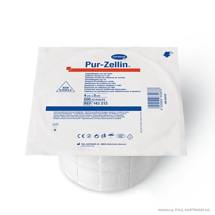 Pur-Zellin unsteril 4 x 5 cm, Zelllstofftupfer (1 Rl. à 500 Stck.)