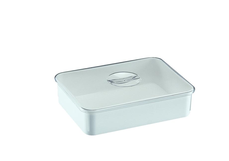 Instrumentenschale 280 x 210 x 70 mm, hoher Rand, weiß, Deckel glasklar
