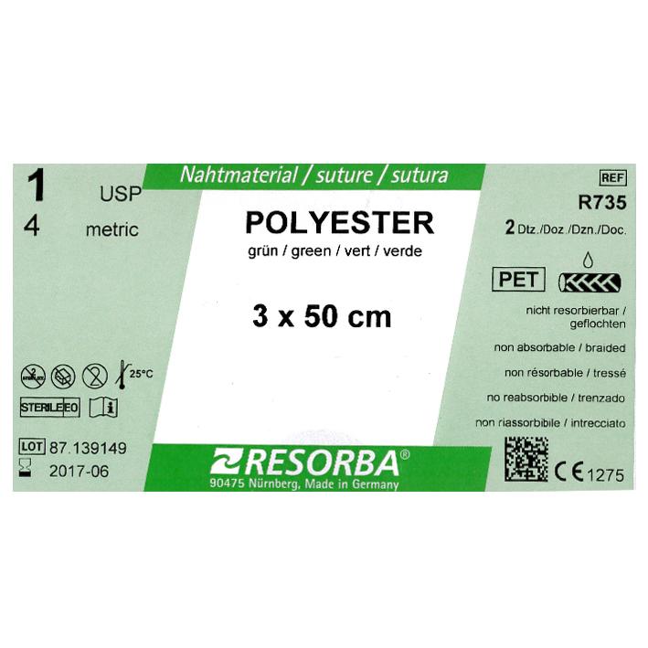 POLYESTER 1=4 grün geflochten, Nahtmaterial Fadenlänge 3x50cm (24Stck.)