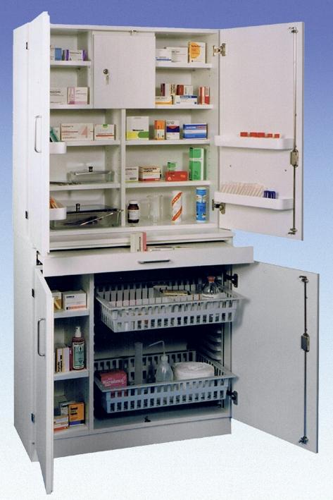 Medikamenten- und Verbandmittelschrank, weiß mit Holztüren