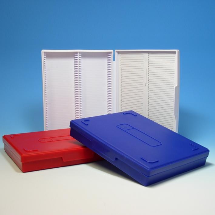 Präparatenkasten mit Klappdeckel, blau, für 100 Objektträger
